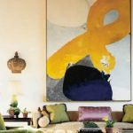 Artistic Living Room with Contemporary Over sized Artwork