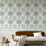 Inspiring Vintage Living Room with Floral Pattern Wall Decoration