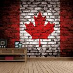 Canada Flag - Brickwall View - Fleece Wallpaper (Roll)