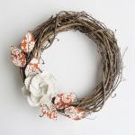 Fabric Leaf Wreath wall decoration