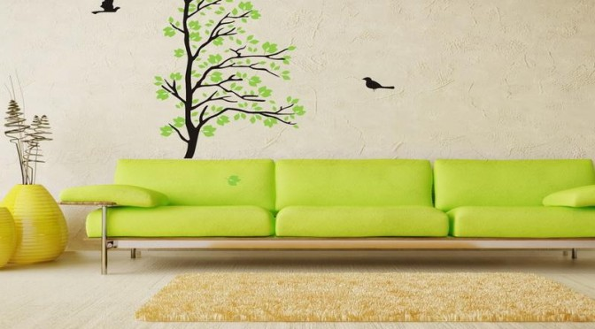 Tree and bird living room wall art