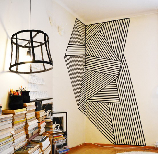 wll decoration with tape