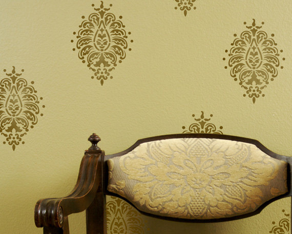 paisley motif stencil wall art wall decoration pictures wall decoration pictures. Black Bedroom Furniture Sets. Home Design Ideas