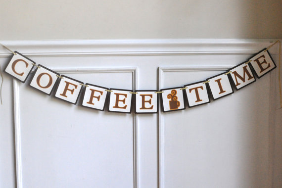 Coffee Time Paper Banner wall decoration