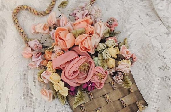 Vintage Floral Silk Ribbon Basket Wall Hanging