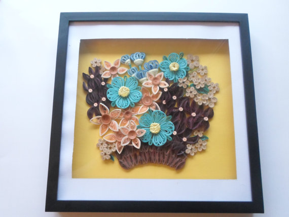 quilling Paper flowers wall decor