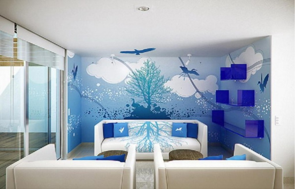 Small living room wall murals decorating ideas wall Wall painting designs for home