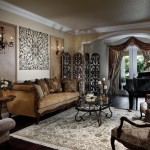 Traditional Living Room Design with Metal Wall Panels