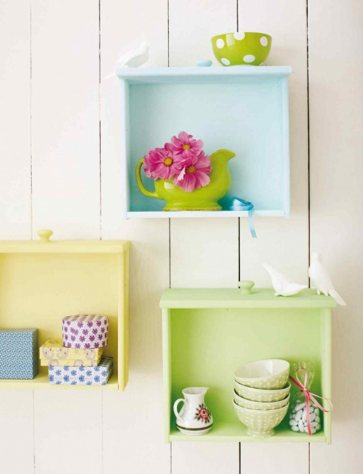 beautiful-inspiring-diy-decorative-wall-mounted-colorful-wall-shelves-of-used-drawers-720x939
