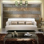 Terrific Living Room Wall Decor With Sparkling Tiles Exotic Pendant Lamps And Elegant Fur Rug