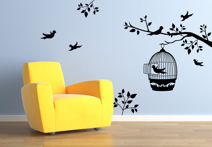 Branch with a Bird Cage Wall sticker - Wall Decoration Pictures Wall ...