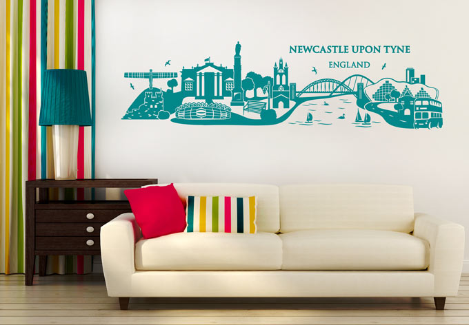 Newcastle upon tyne skyline wall sticker decoration pictures