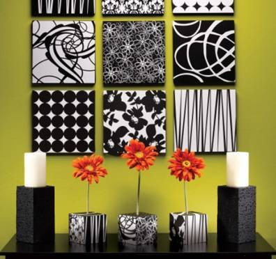 Black and white wall decoration living room