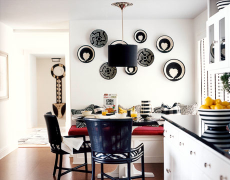 Stylish kitchen wall decoration with crockery