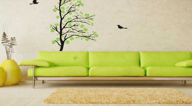 Tree and bird living room wall art