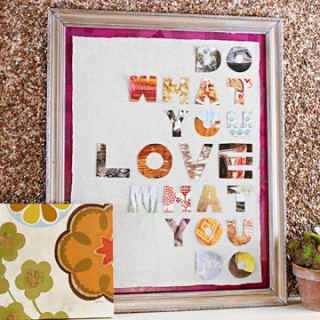Fabric and paper wall art