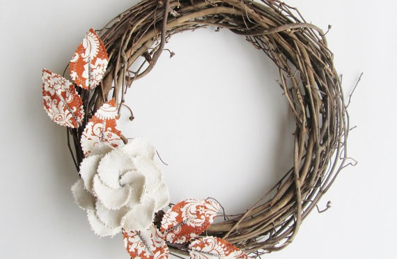 Fabric Leaf Wreath wall decoration