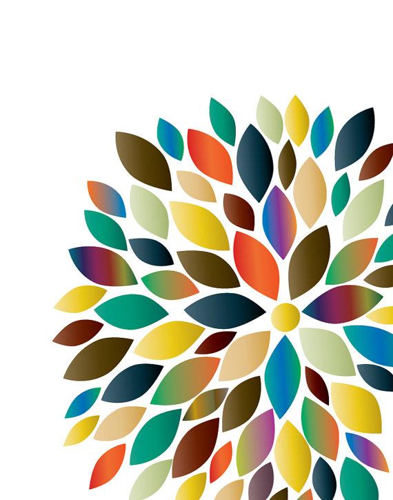 Flower Bursts Botanical Print wall art