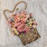 Vintage Floral Silk Ribbon Basket Wall Hanging