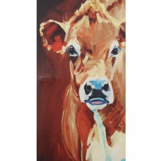 Larger View ONE COW TALL CANVAS WALL ART