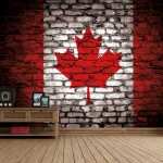 Canada Flag – Brickwall View – Fleece Wallpaper (Roll)